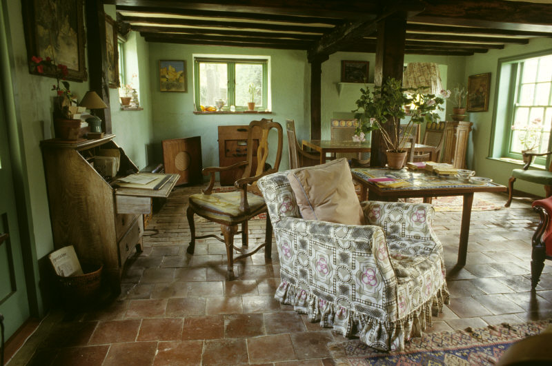 The Sitting Room at Monk's House showing the green paint liked by Virginia Woolf.
